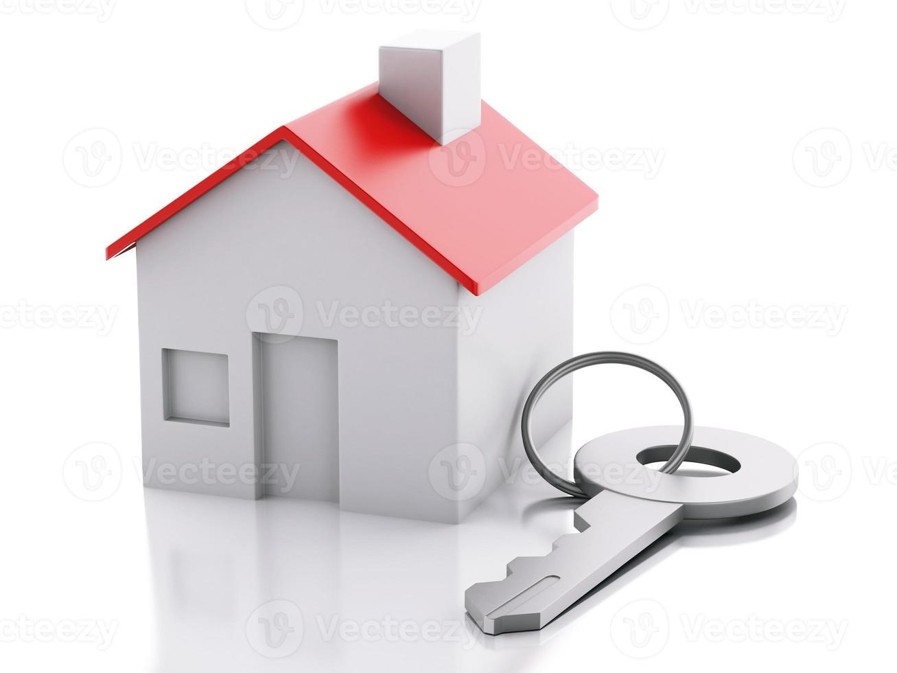 Haus mit Schlüssel auf weißem Hintergrund. Immobilienkonzept foto