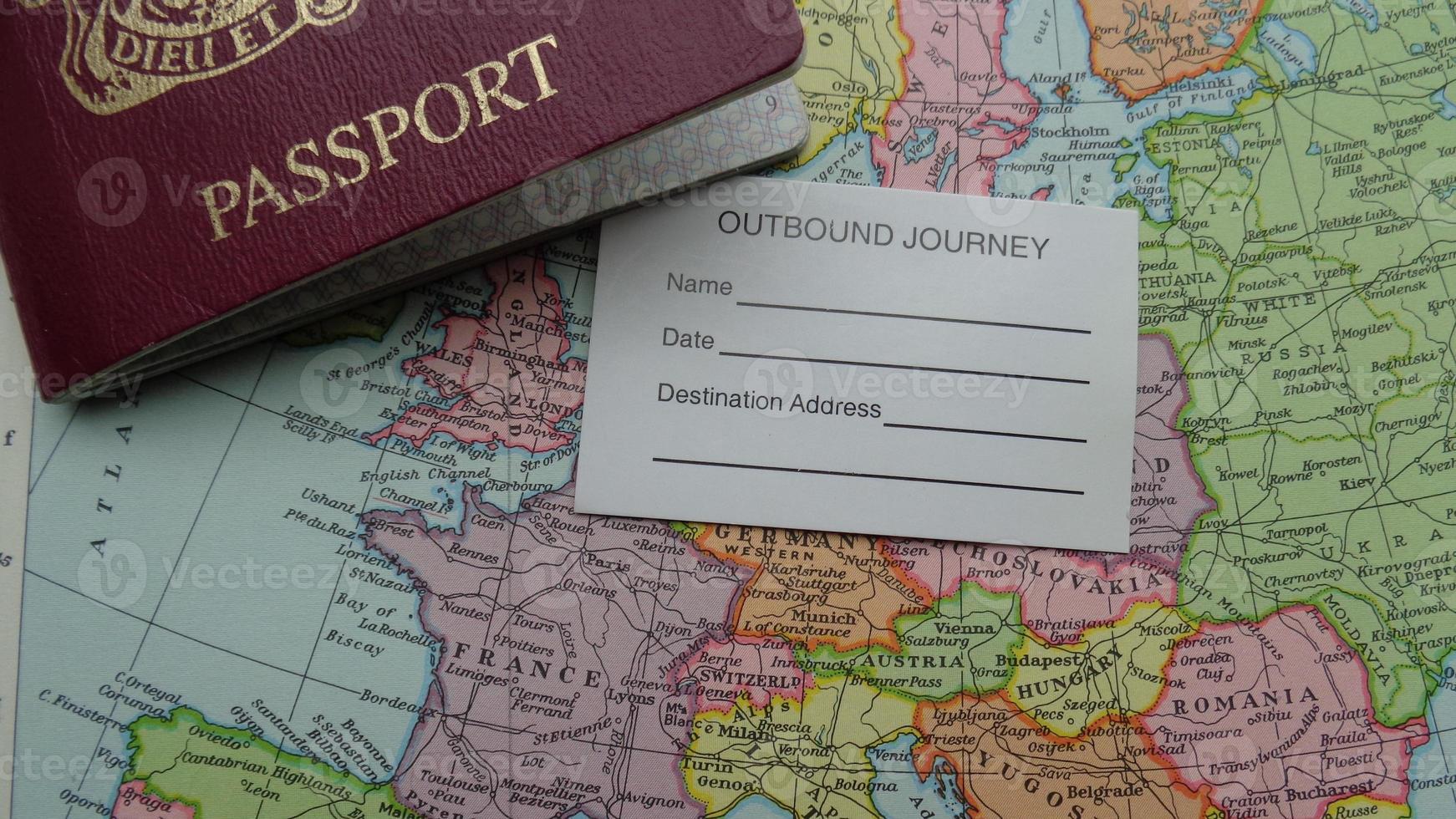 Reisepass und Karte foto