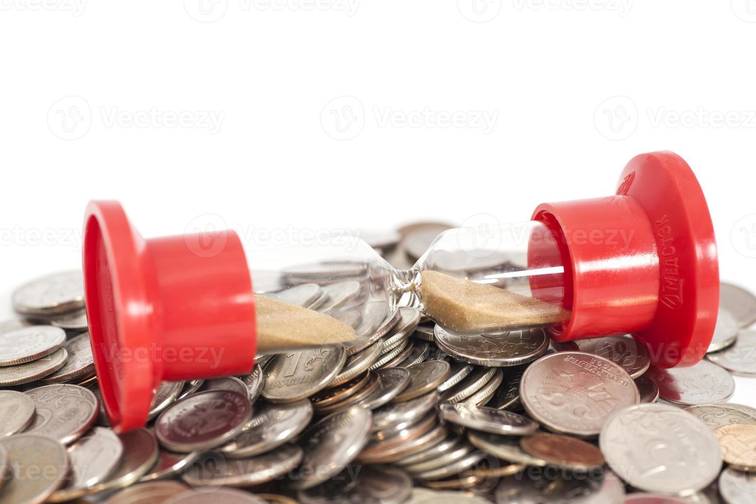 Sanduhr auf Münzen foto