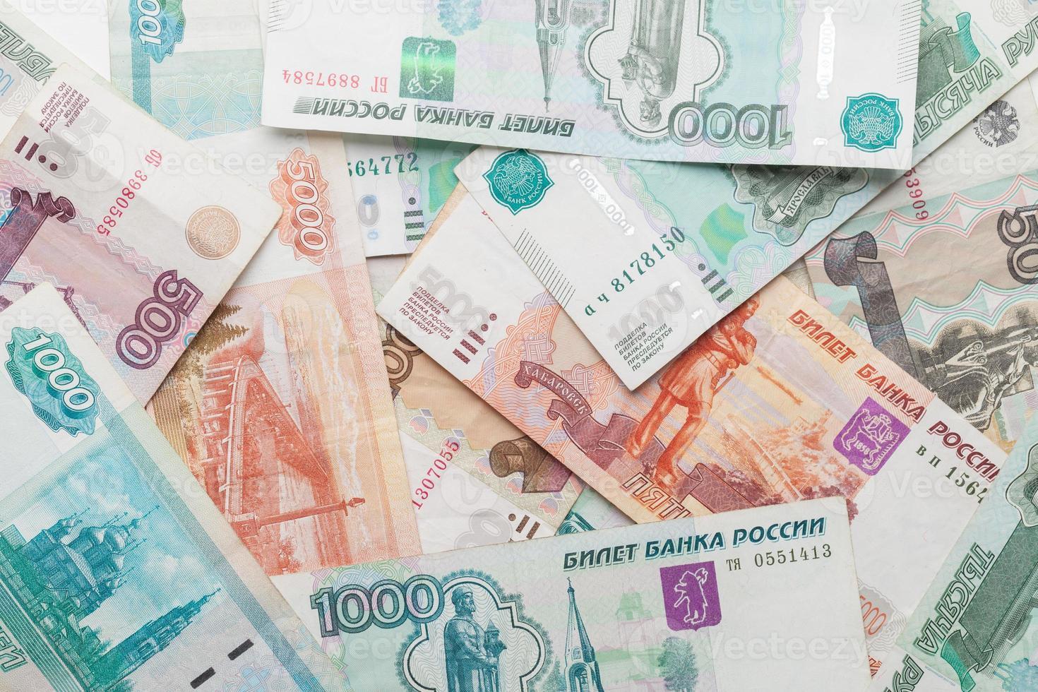russischer Geldhintergrund. Rubel Banknoten Nahaufnahme Textur foto