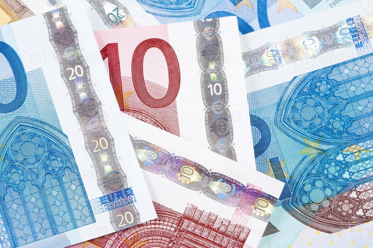 Nahaufnahme von Euro - Banknoten der Europäischen Union foto