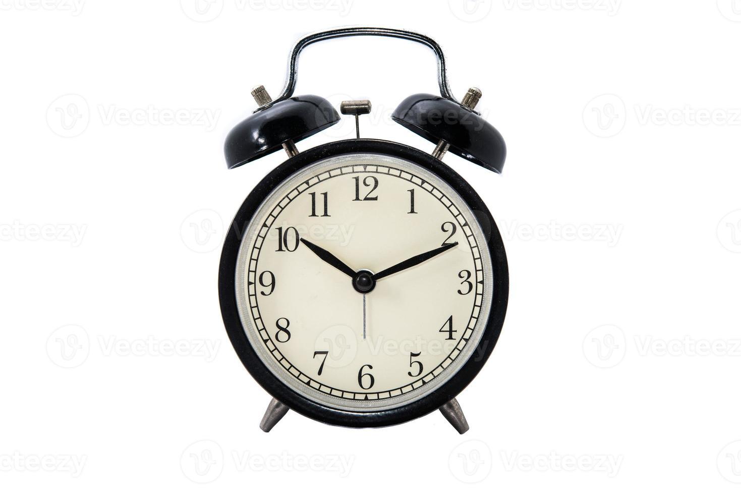 Uhr auf weißem Hintergrund foto