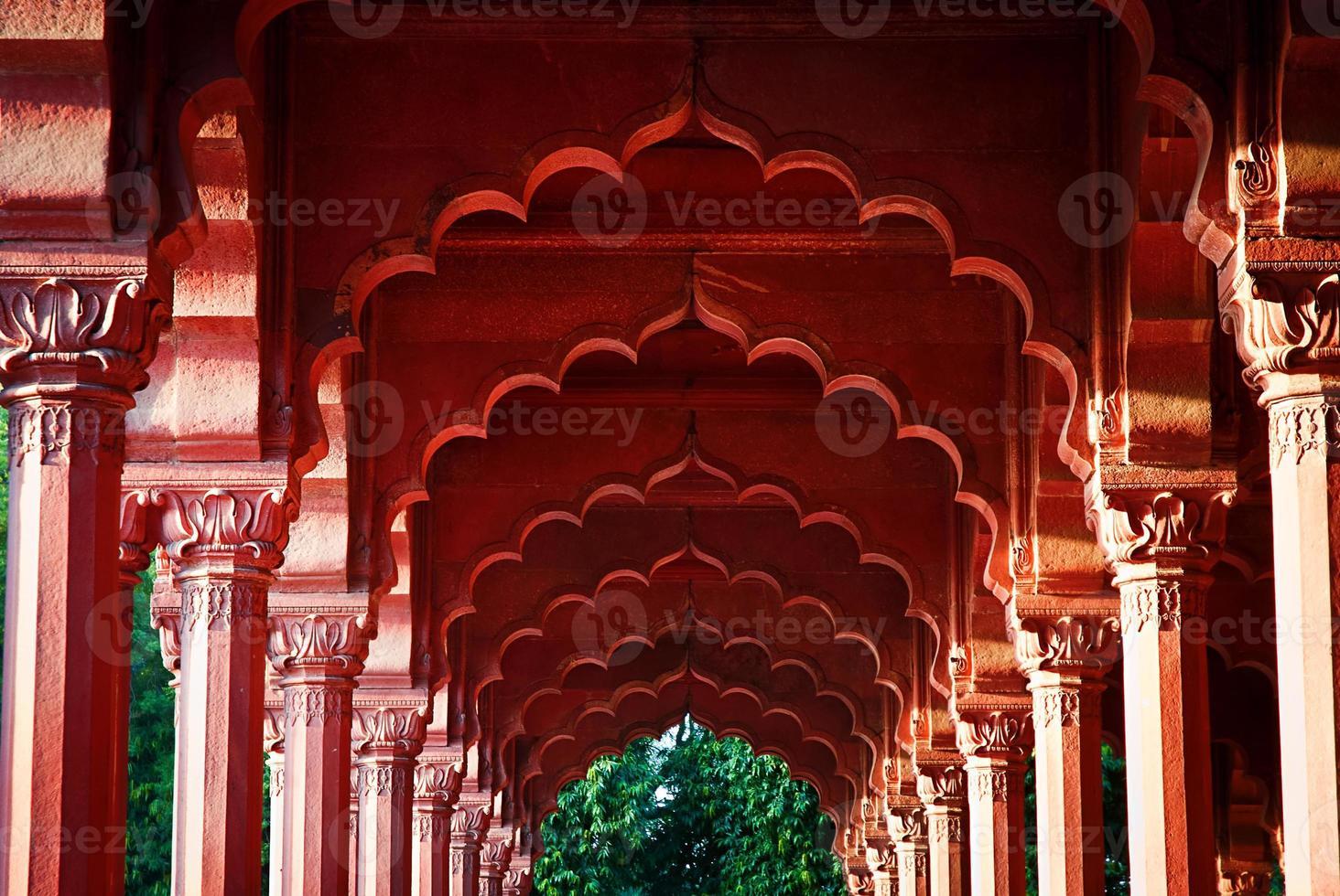 Arkade in der roten Festung, Delhi, Indien foto