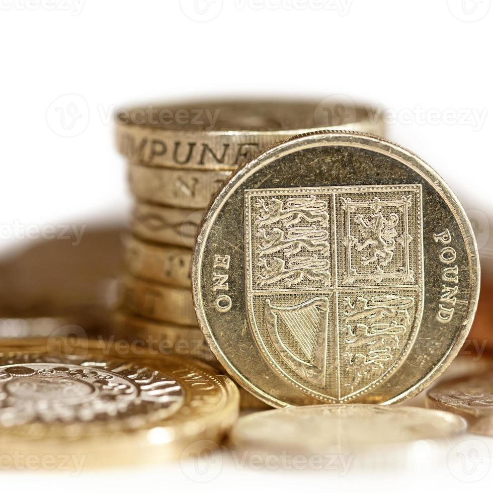 britische Münzen mit Fokus auf ein Pfund foto