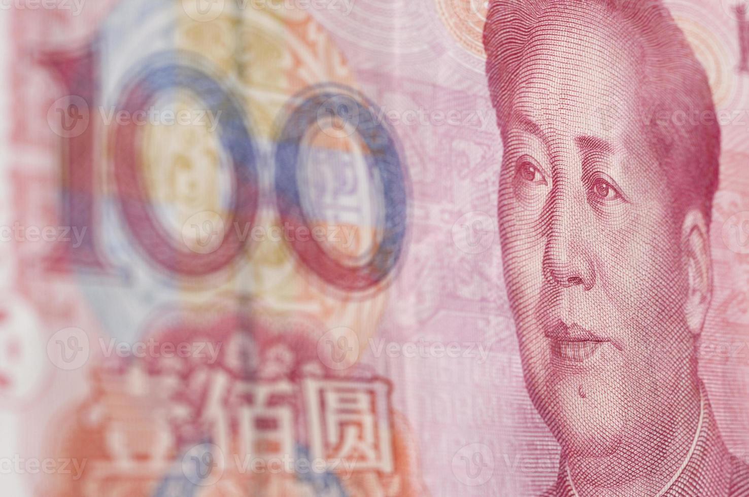 Makroaufnahme für Renminbi (rmb), 100 Dollar. foto