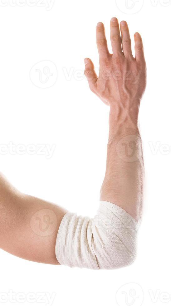 elastischer Verband an der Schmerzzone. isoliert foto