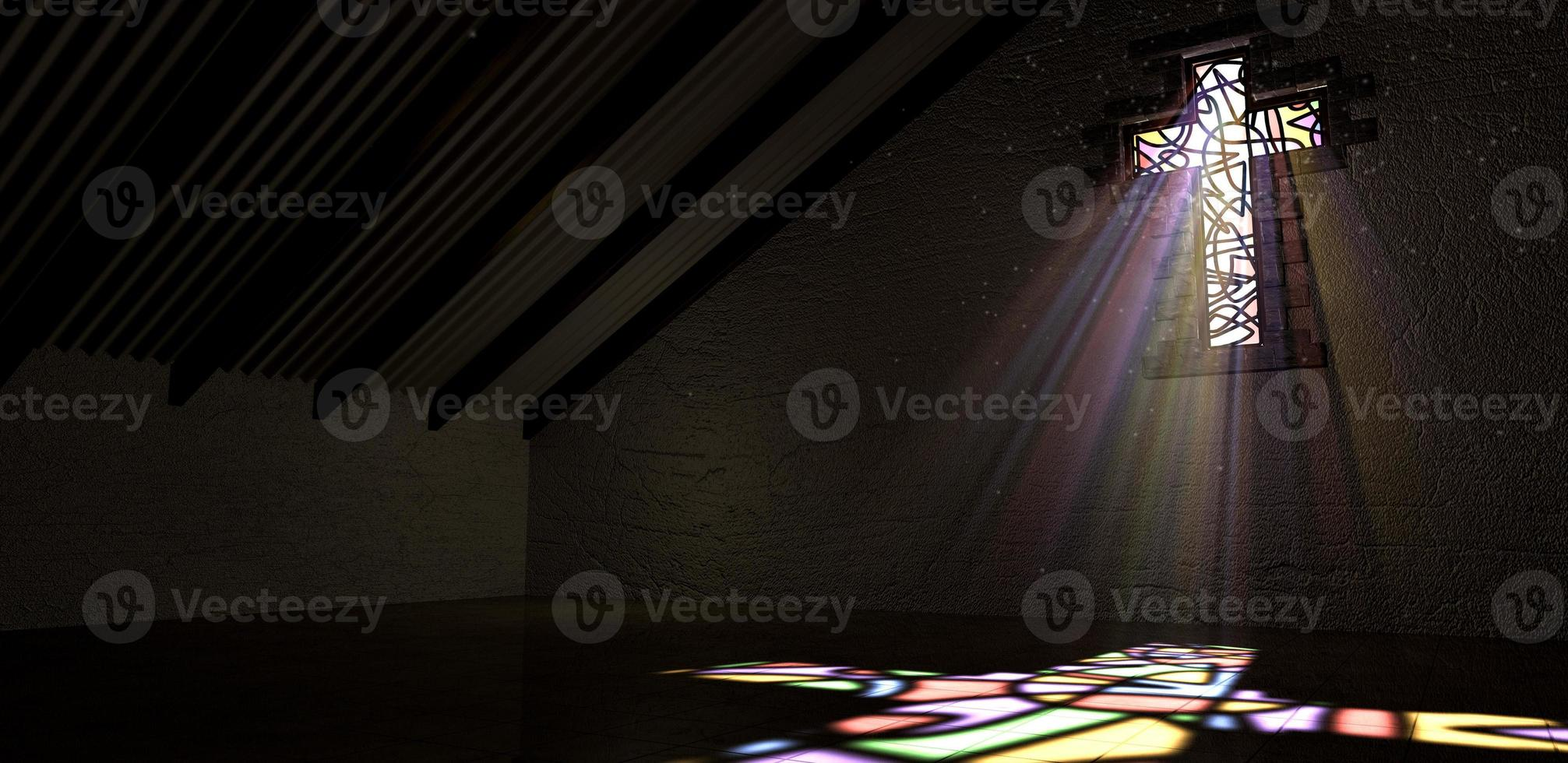 Glasmalerei Fenster Kruzifix Lichtstrahl Farbe foto