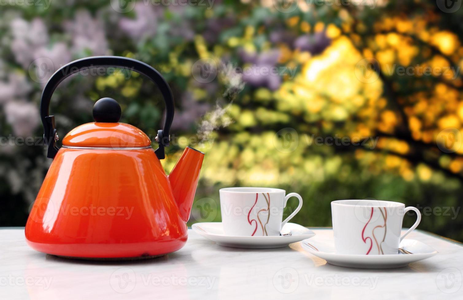 Teekanne mit zwei Tassen draußen foto