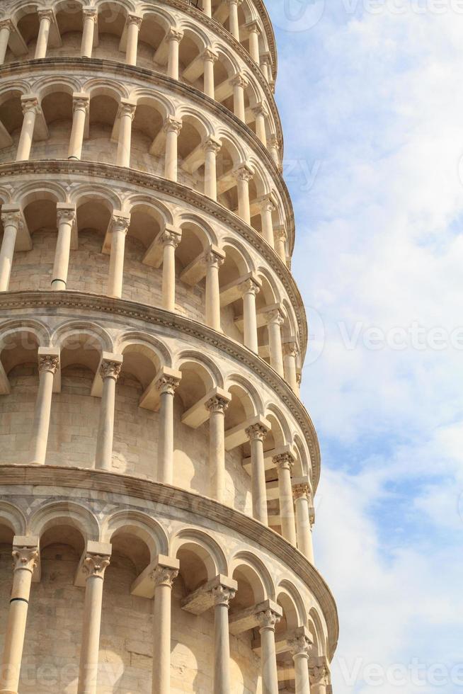 Detail des schiefen Turms von Pisa foto