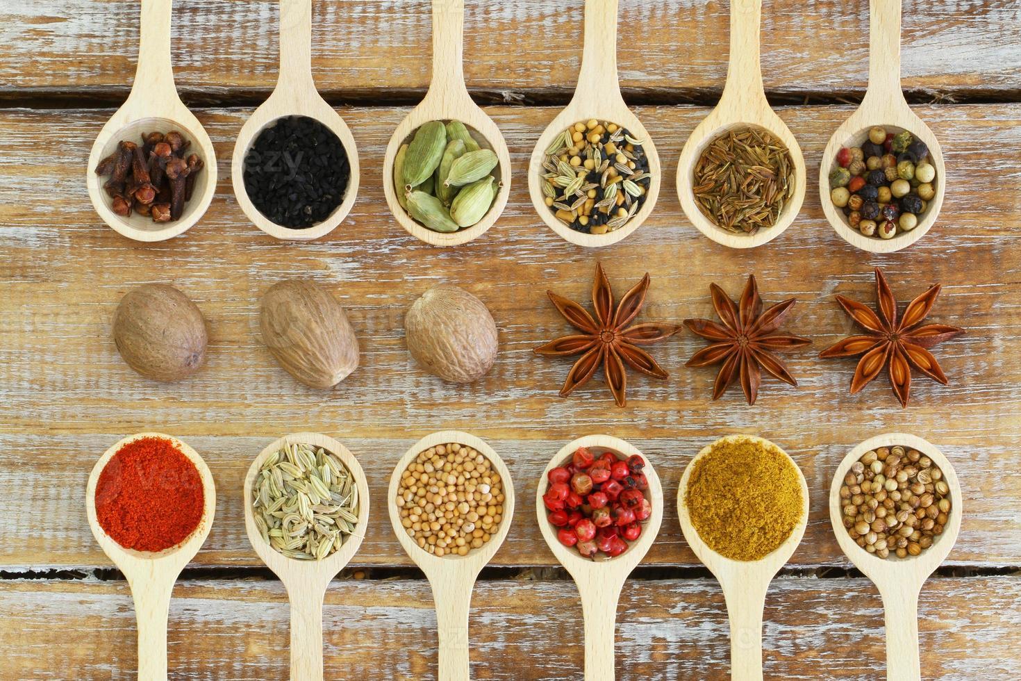 Auswahl an indischen Gewürzen auf Holzlöffeln foto