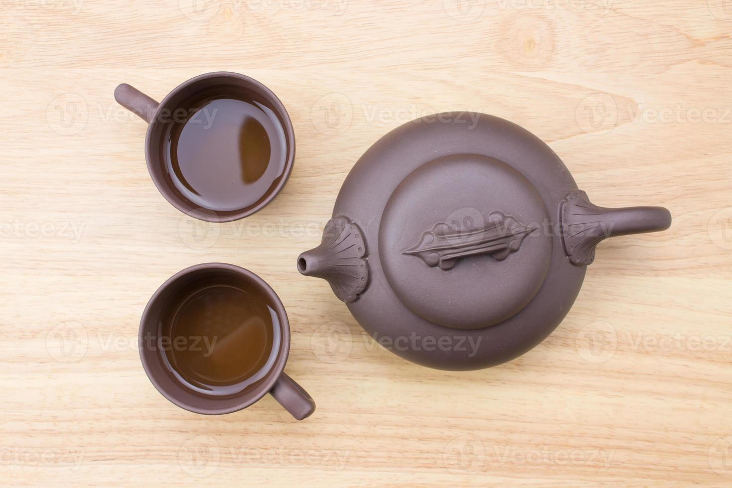Schließen Sie oben Teekanne und Teetasse foto