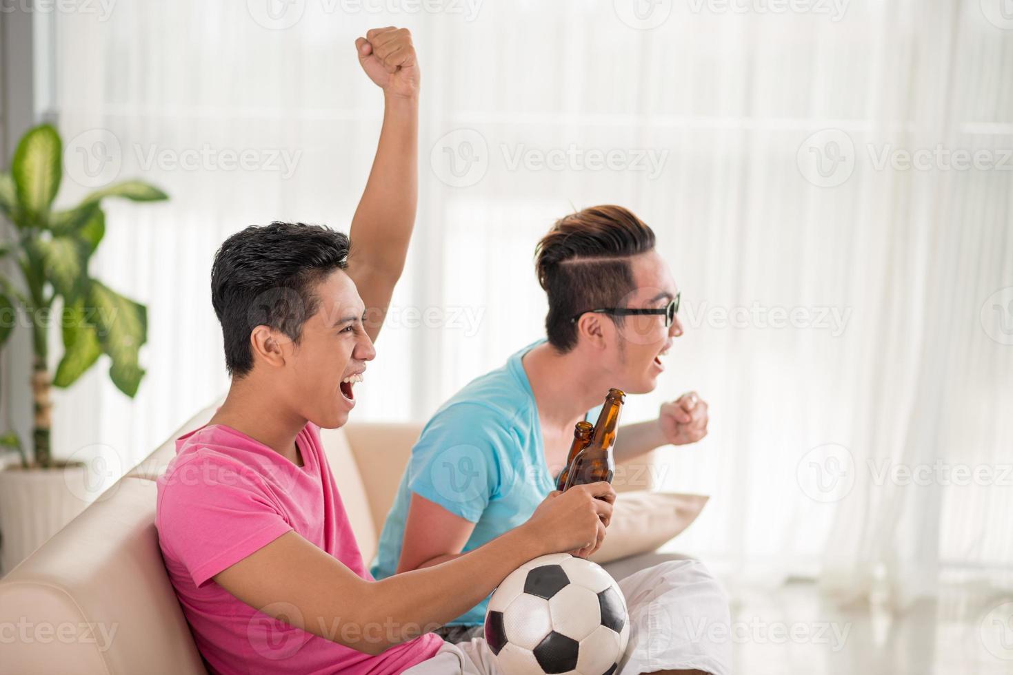 Unterstützung der Lieblingsfußballmannschaft foto