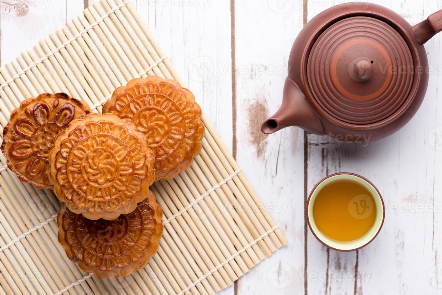 Mondkuchen und Tee foto