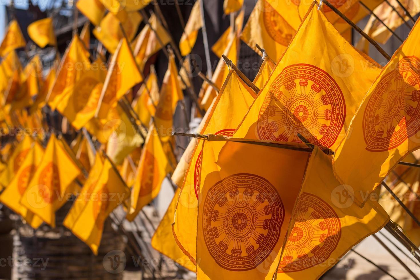 Dharmacakra Flaggensymbol, das Rad des Gesetzes foto