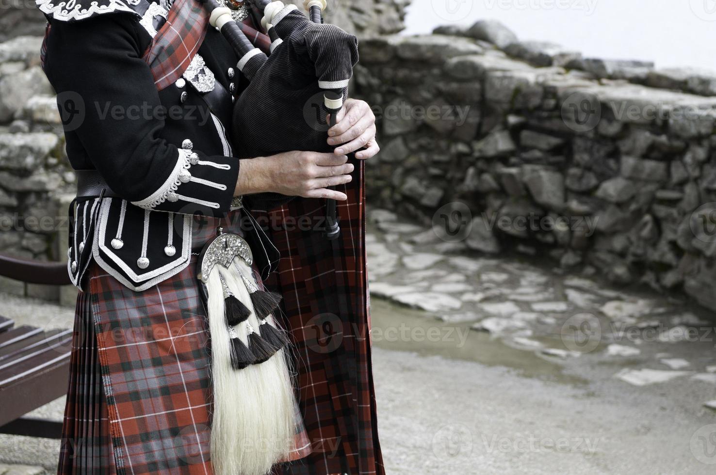 Sackpfeife und schottischer Kilt foto