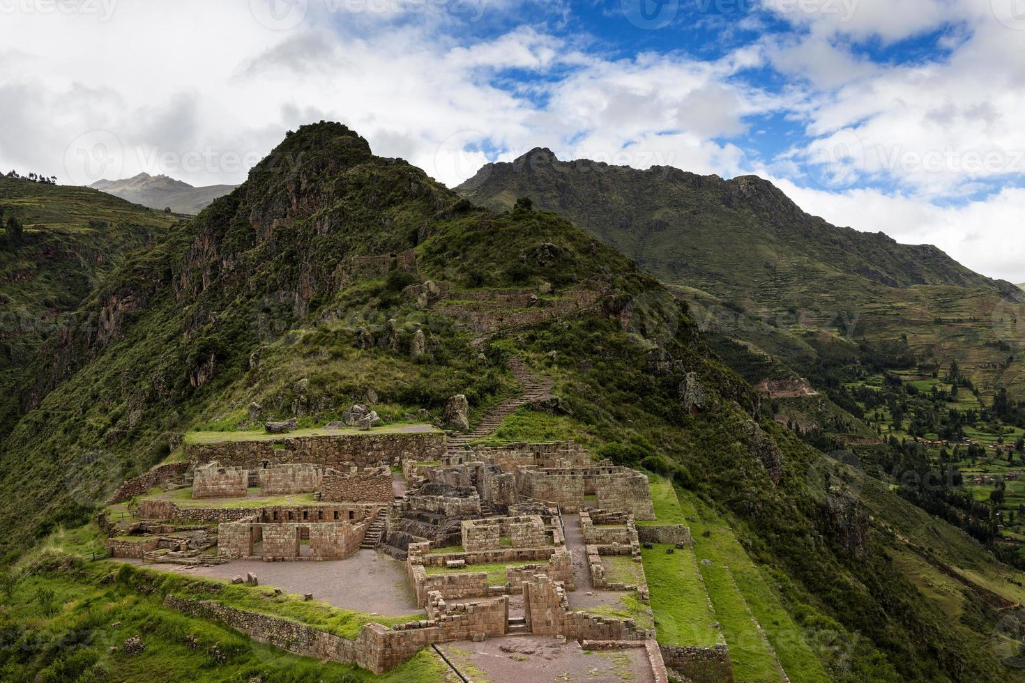 Inka-Ruinen in Pisac, Peru foto