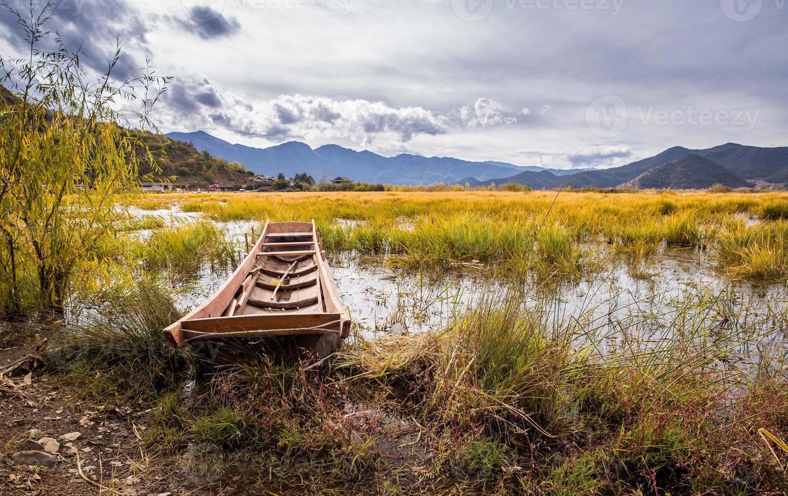 Boot auf dem Lugu See foto