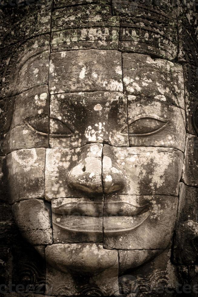 Gesicht des Bajons im alten Khmer-Königreich foto