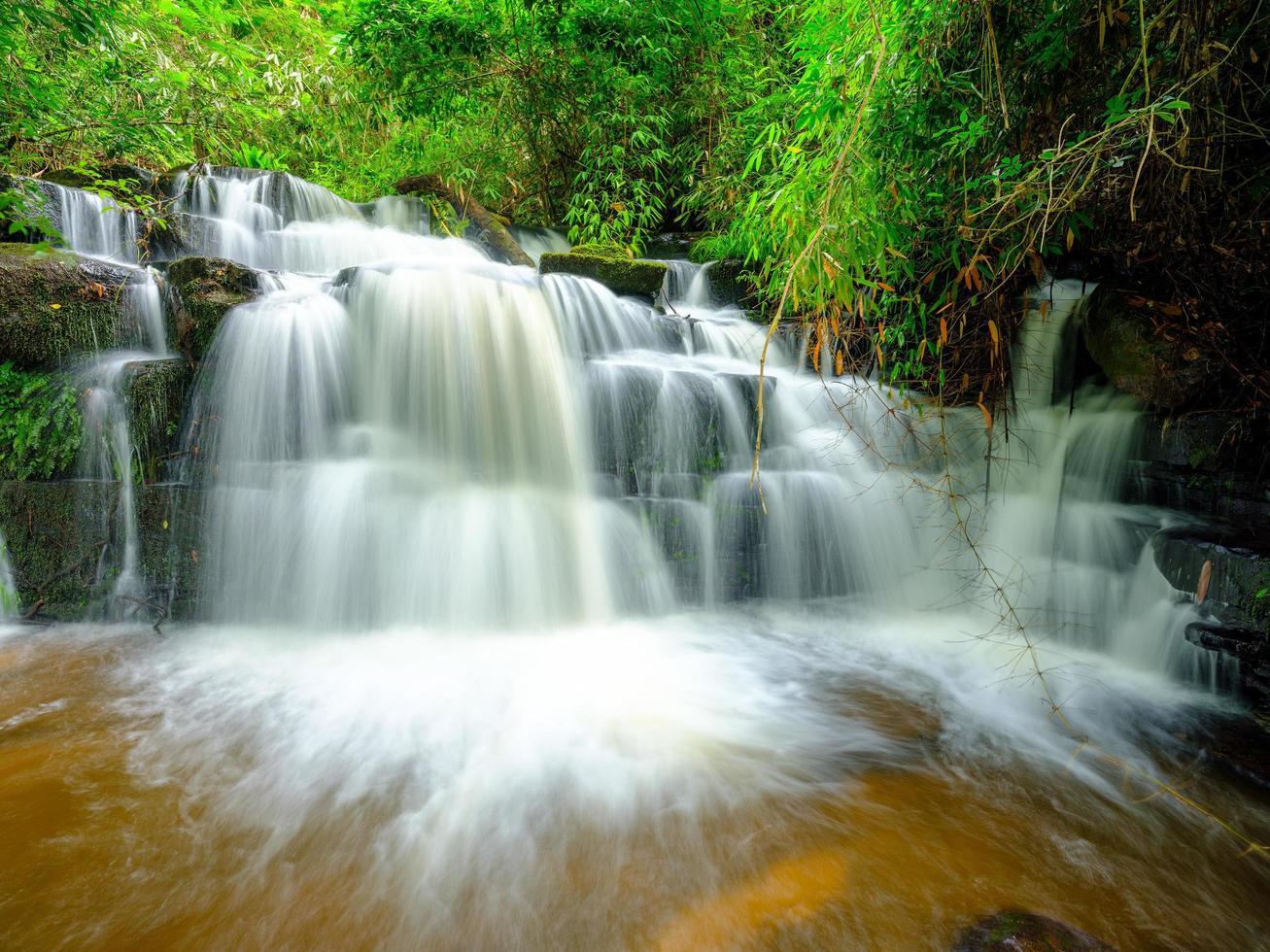 Langzeitbelichtung von Wasserfällen foto