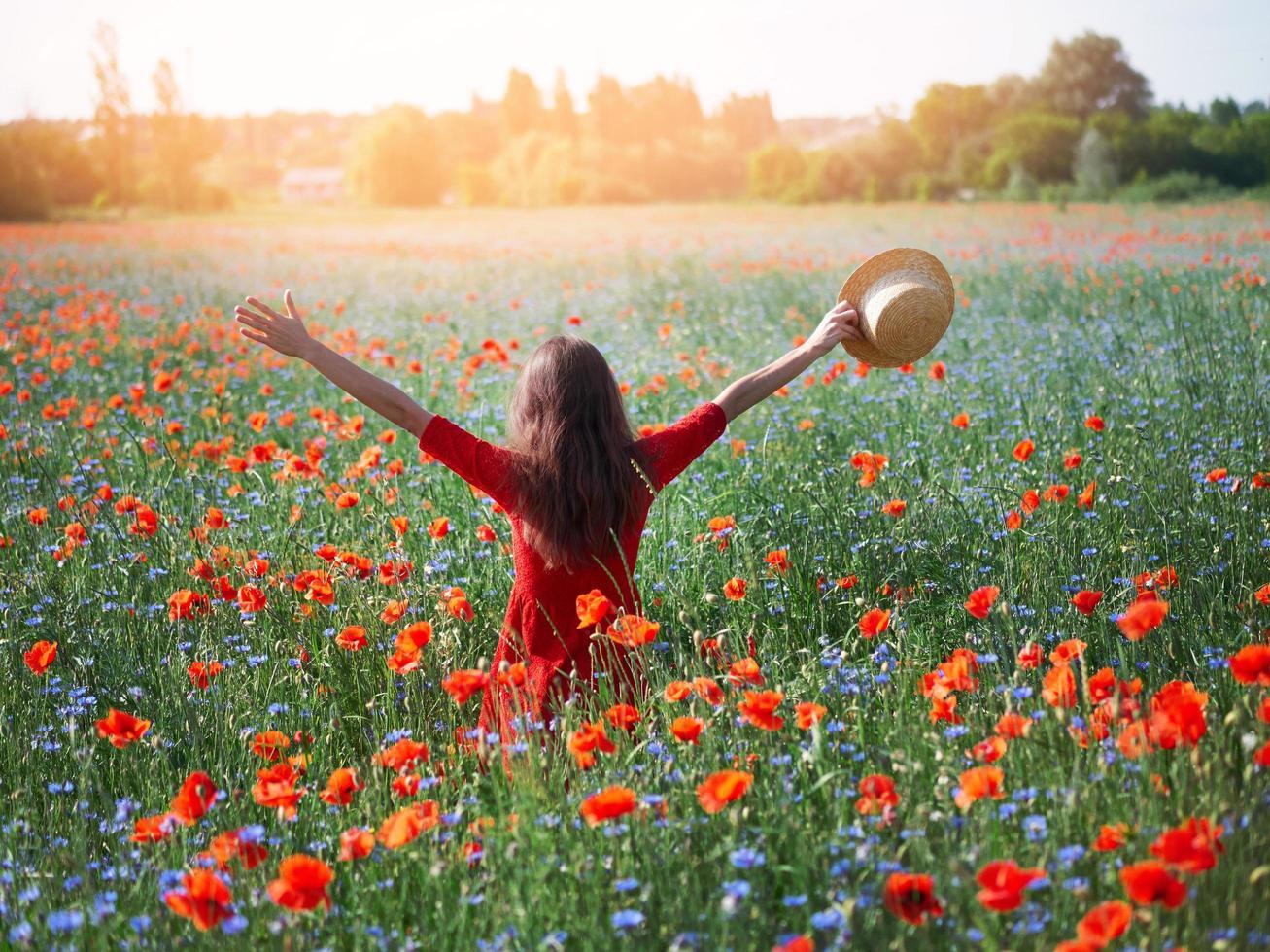 junge schöne Frau mit erhobenen Armen im Frühlingsmohnfeld foto