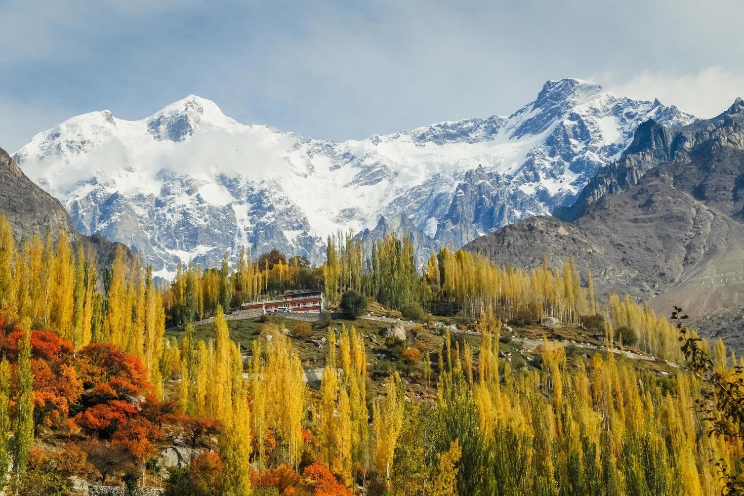 Herbstlaub im Hunza-Tal mit schneebedeckten Bergen foto
