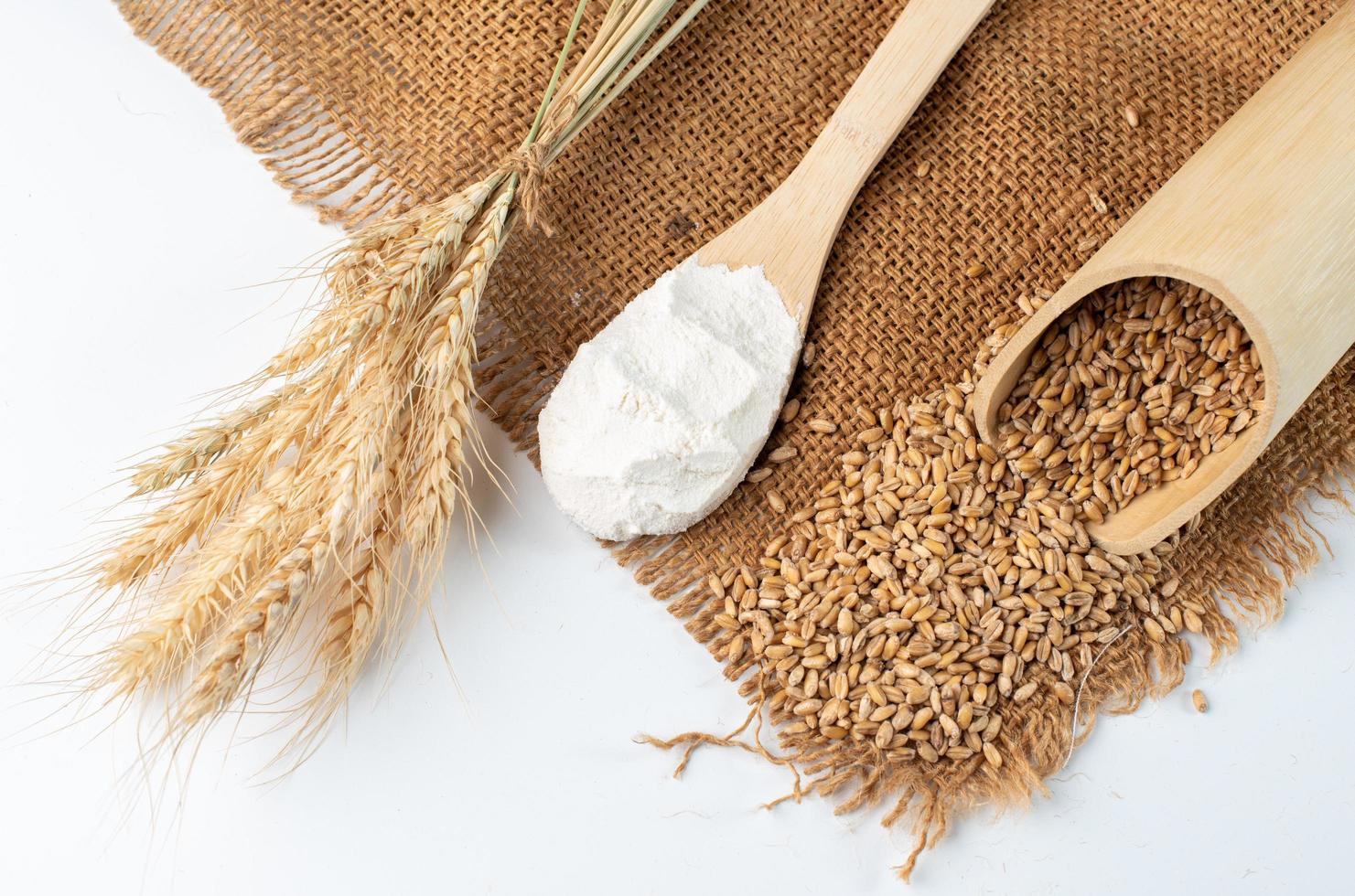 Mehl und Weizen Zutaten zum Backen foto