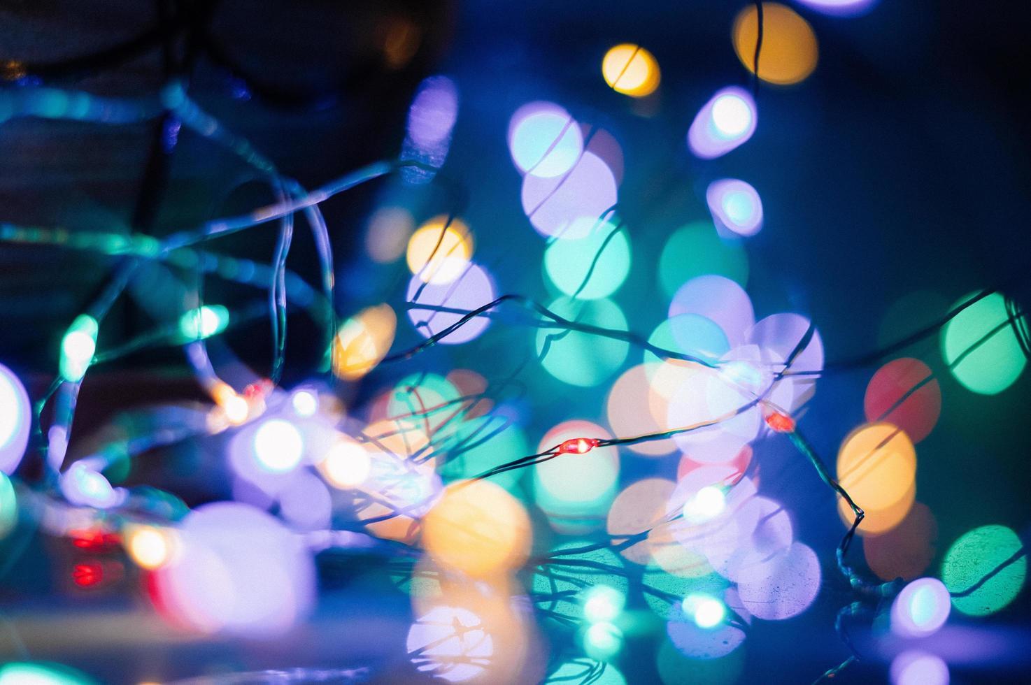 Bokeh-Fotografie von Lichterketten foto