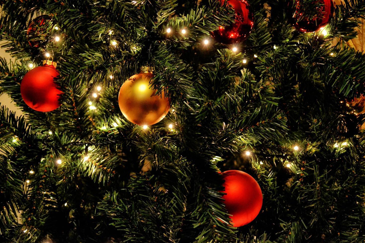 rote und goldene Zwiebeln auf Weihnachtsbaum foto