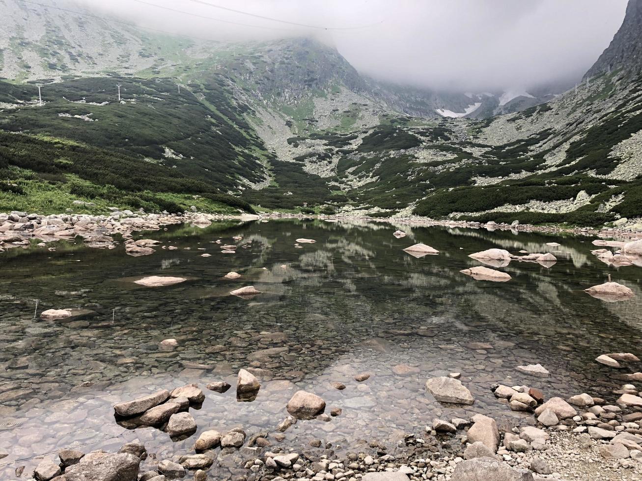 Gewässer umgeben von Bergen foto