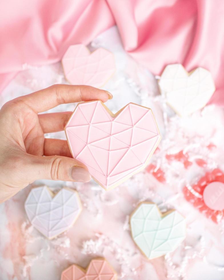 weißer und rosa Herzkeks foto