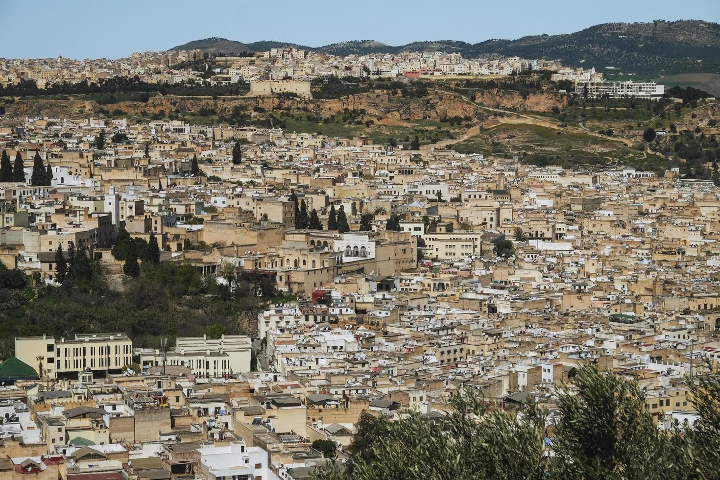 Luftaufnahme der Medina von Fes, Marokko foto