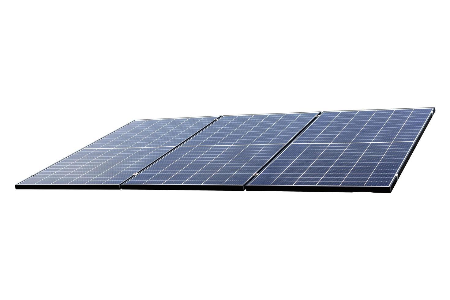 Photovoltaik-Solarpanel auf einem weißen foto