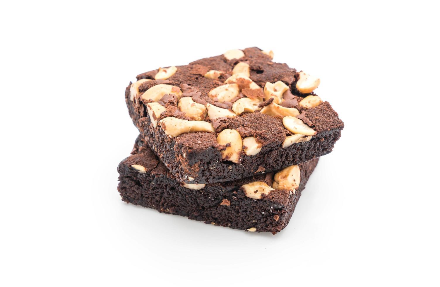 Schokoladen Brownies auf Weiß foto