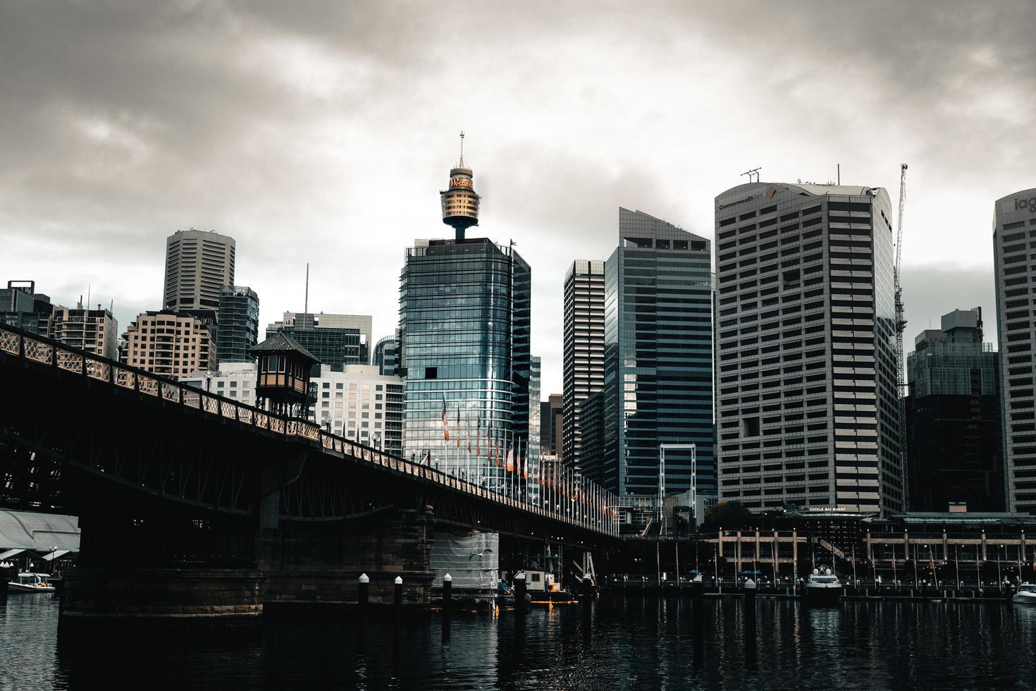 Hochhäuser in der Nähe der Brücke foto