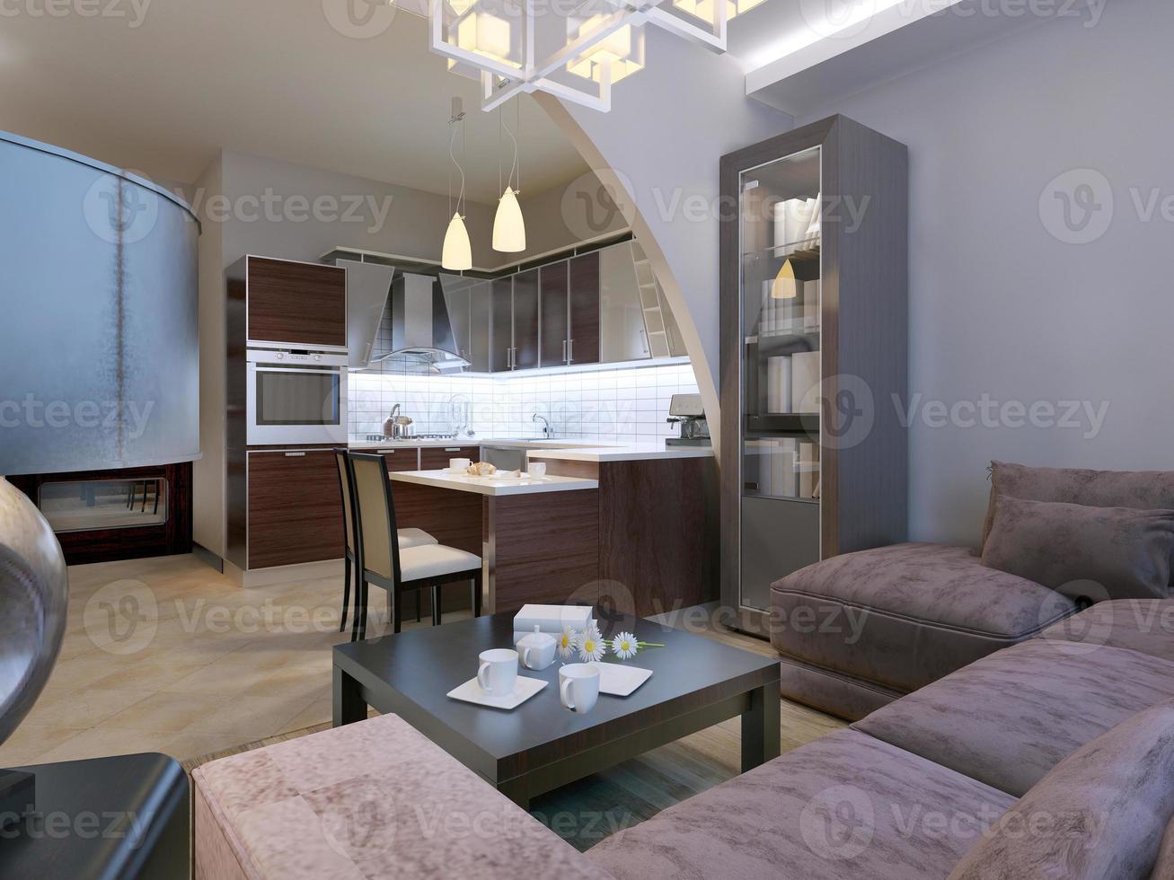 modernes Interieur eines Wohnzimmerstudios foto