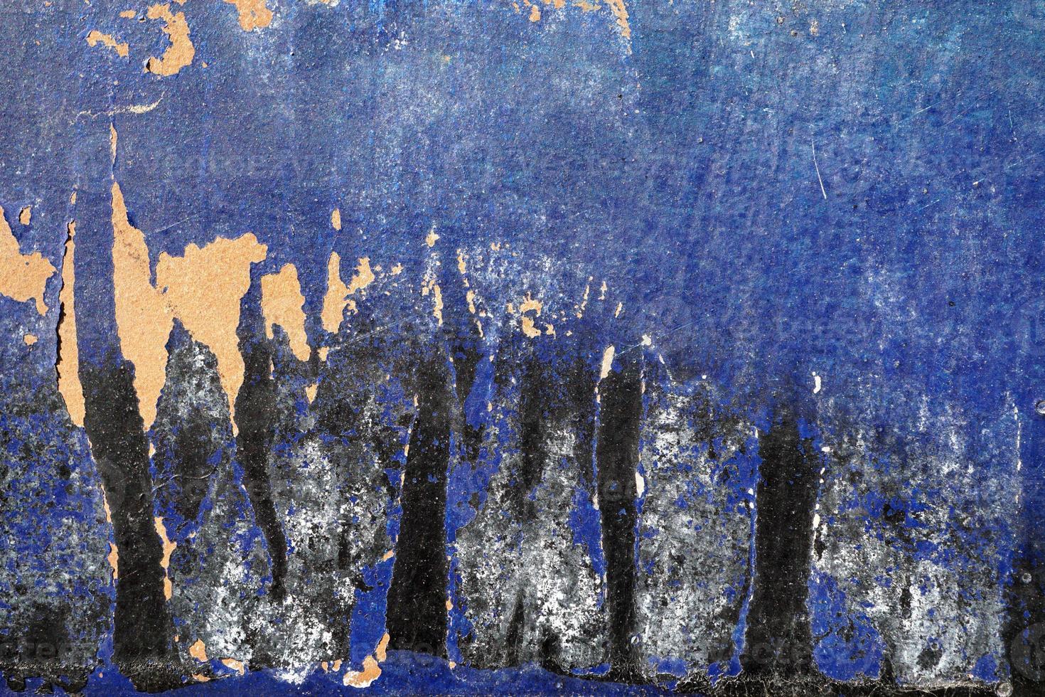 heisere, zerkratzte, geschälte Oberfläche mit blauem, weißem und schwarzem Pai foto