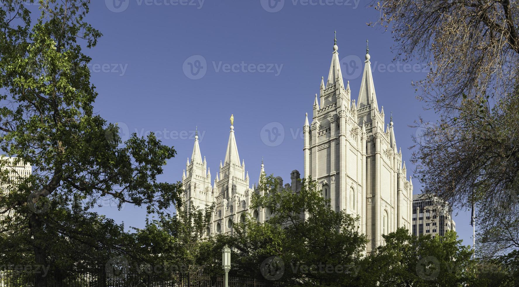 Salzsee Stadt Mormonentempel Platz Panorama Utah foto