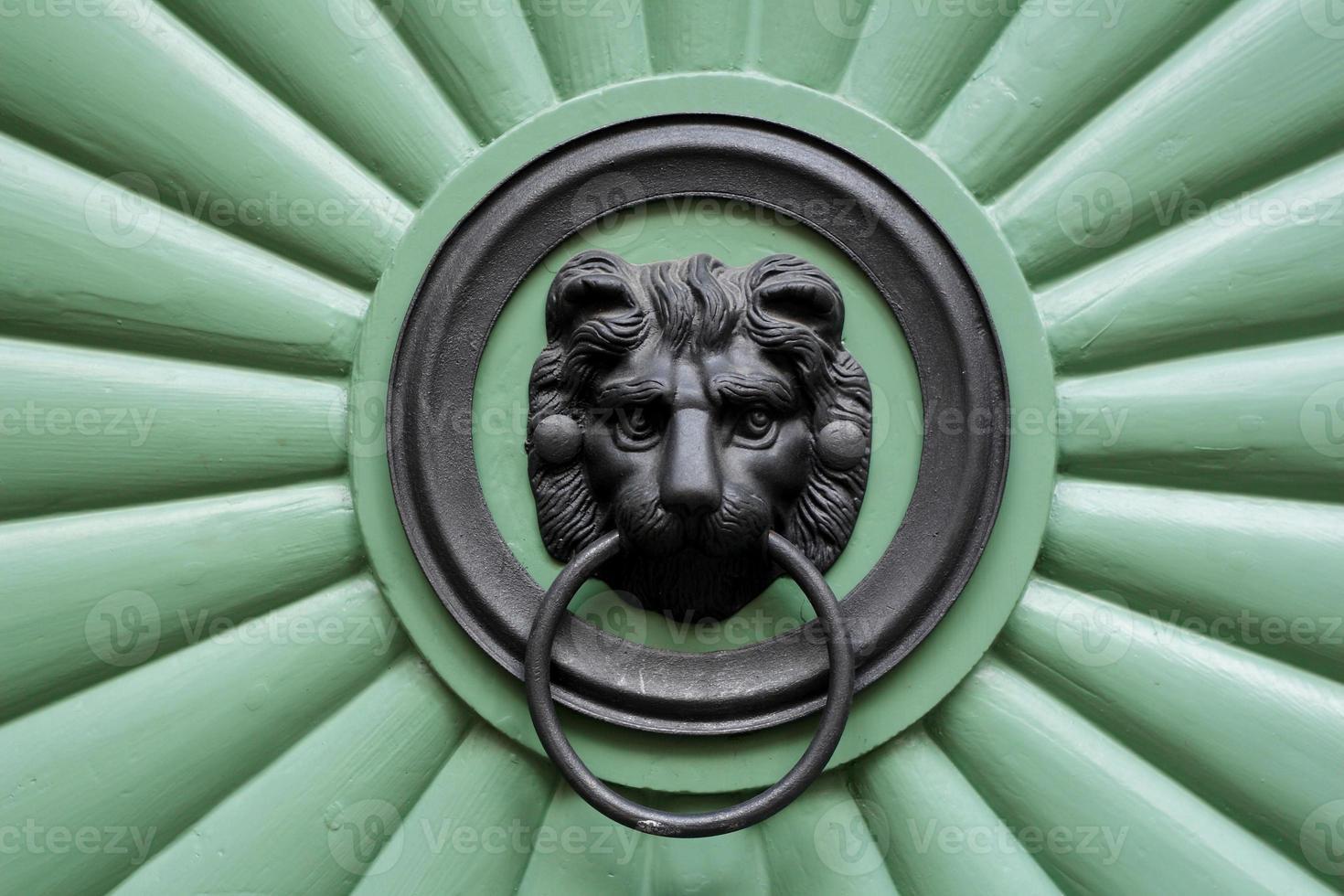 grüne Tür mit Ornamentlöwe foto