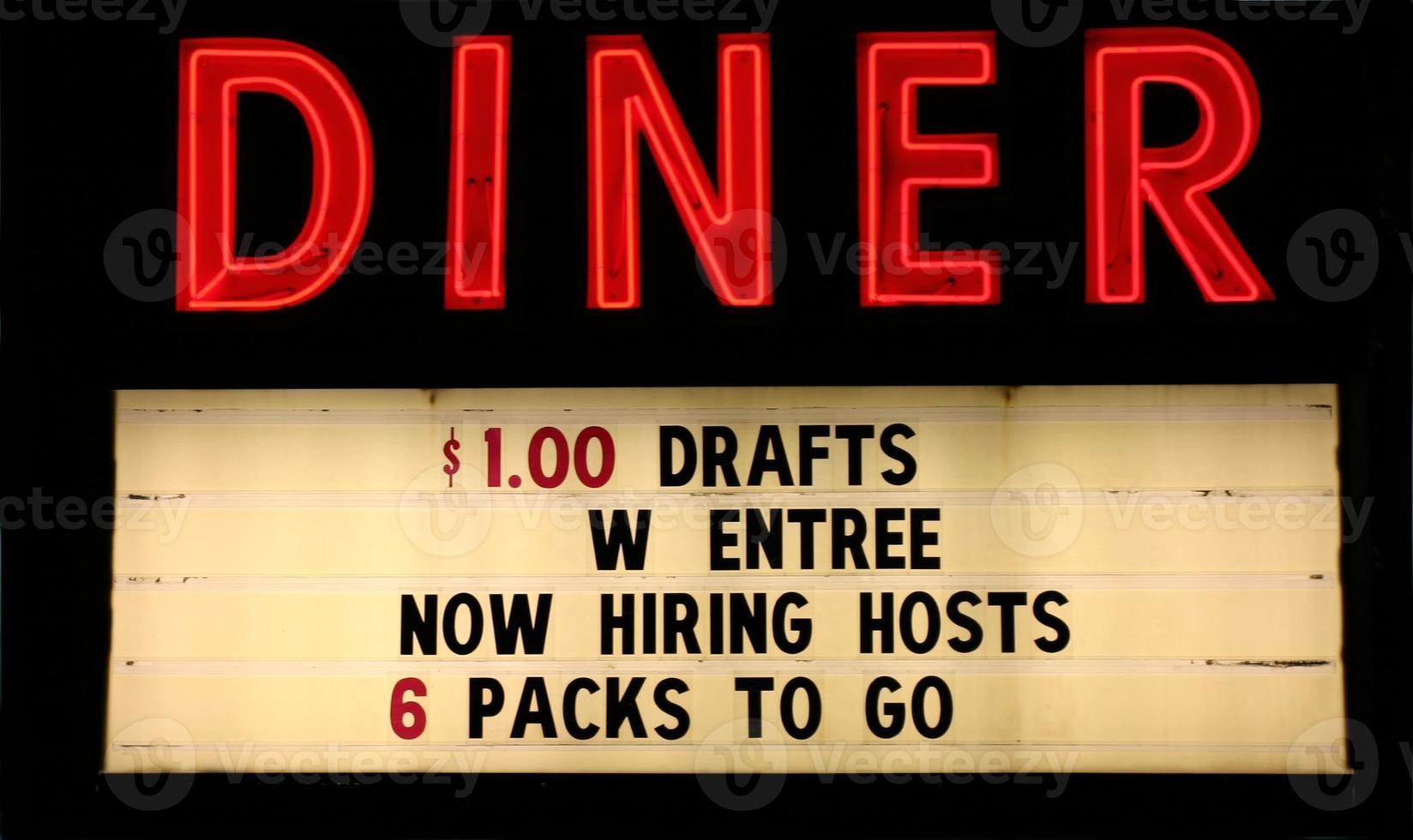 rotes Neon Diner Zeichen mit Text foto