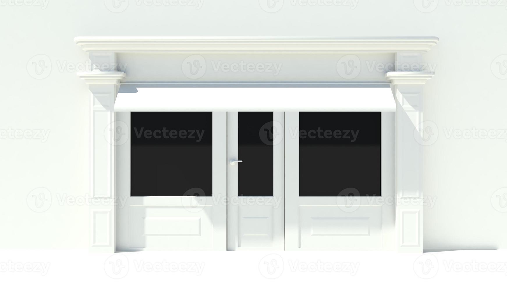 sonnige Ladenfront mit großen Fenstern weiße Ladenfassade mit Markisen foto