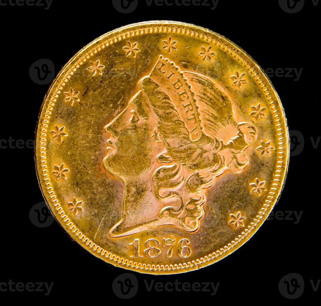 vor uns Freiheit zwanzig Dollar Goldmünze foto