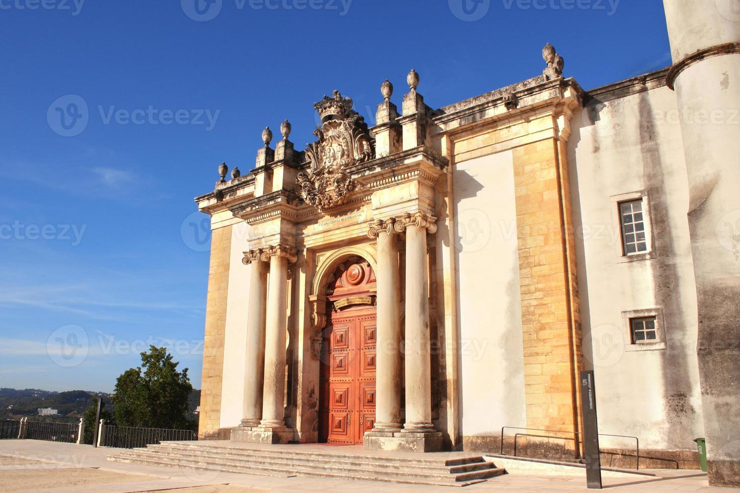 Eingang der Joanina-Bibliothek, Coimbra-Universität, Portugal foto
