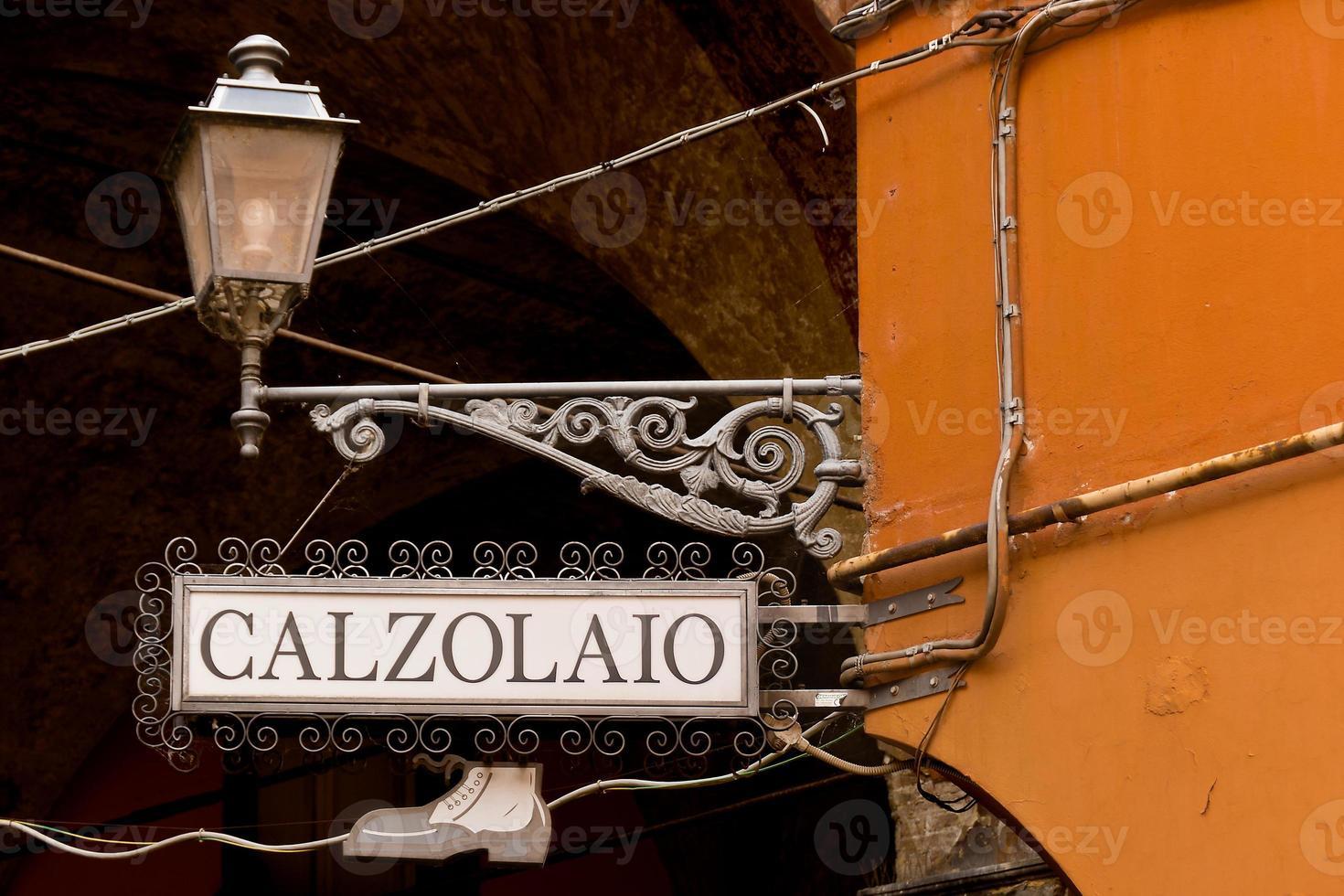 Zeichen Schuhmacher in Italienisch foto
