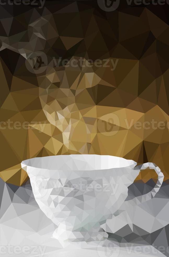 polygonale Tasse Kaffee mit Untertasse und Dampf. foto