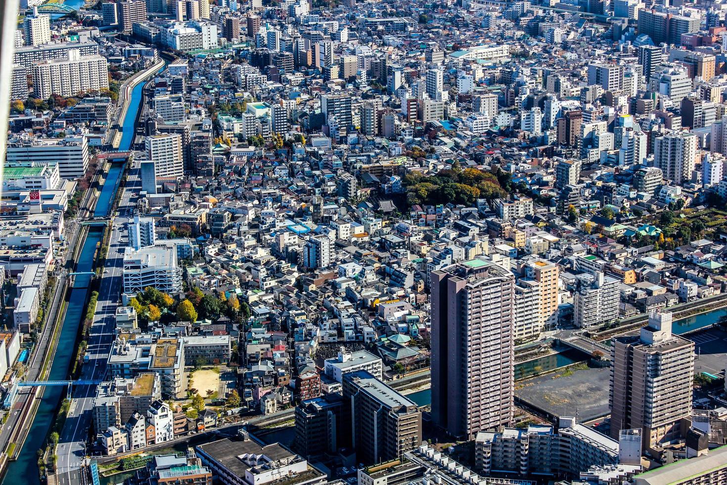 Luftaufnahme von Gebäuden in einer Stadt foto