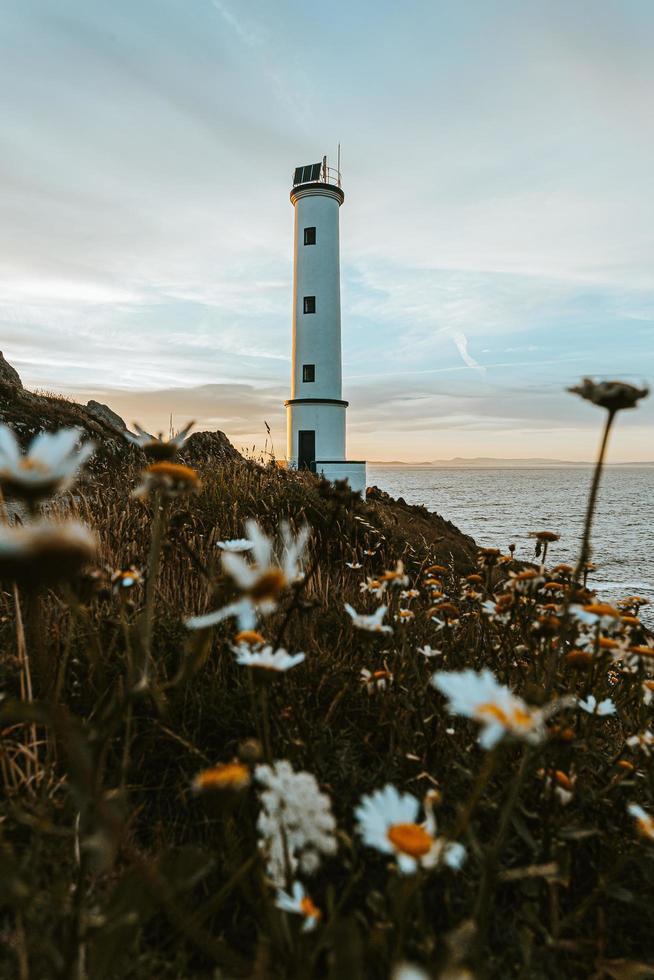 weißer Leuchtturm an der Küste foto