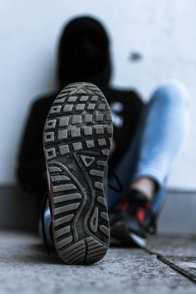Nahaufnahme der Unterseite des Schuhs foto