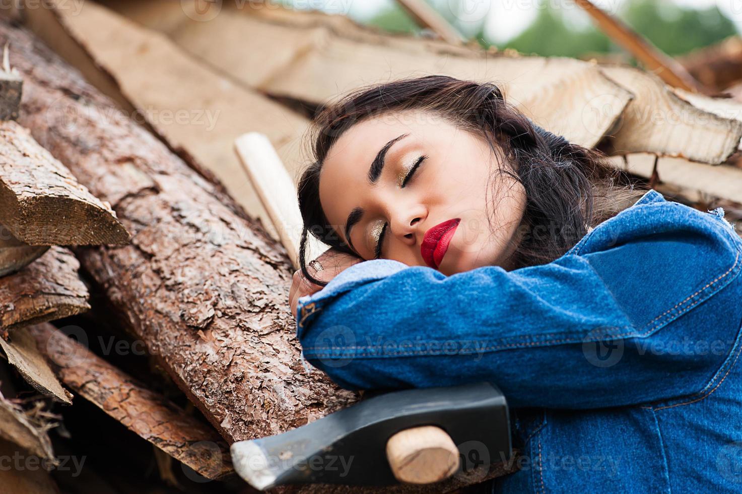 Frau schläft foto