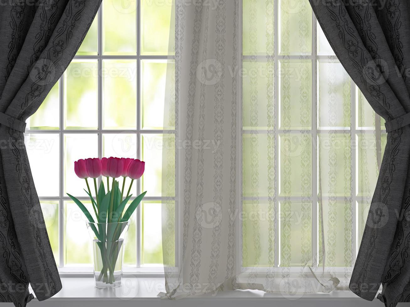 Tulpen auf einer Fensterbank. foto
