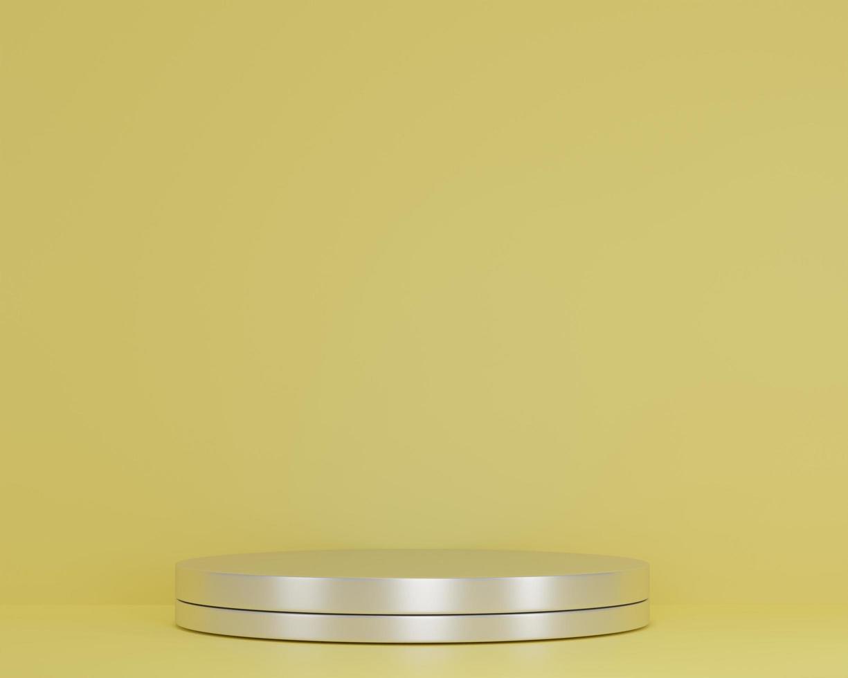 3D-Rendering-Szene mit leerem Silberzylinder-Podium der Komposition für den abstrakten Hintergrund der kosmetischen Produktpräsentation. Geometrische Modellform in gelben Pastellfarben. minimaler Design-Leerraum foto